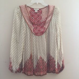Lucky Brand Tan/Red Printed Peasant Top Blouse